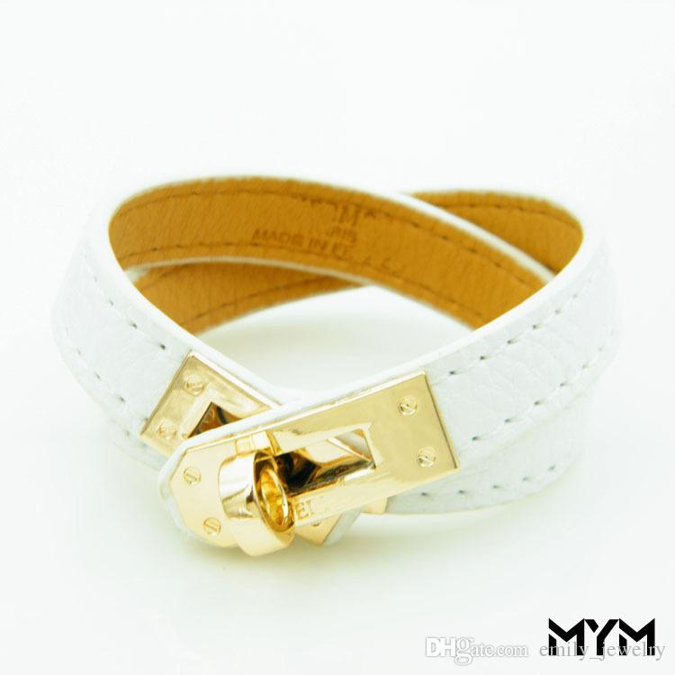 Vintage Multilayer Pu Leather H Bracelets for women Cuff bangles Men gold buckle Wristband Pulseras Hombre Male Accessories Jewelry