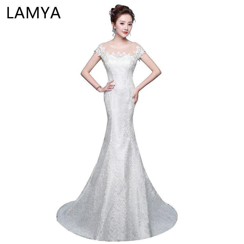 compre vestidos de boda de la sirena del cordón al por mayor de
