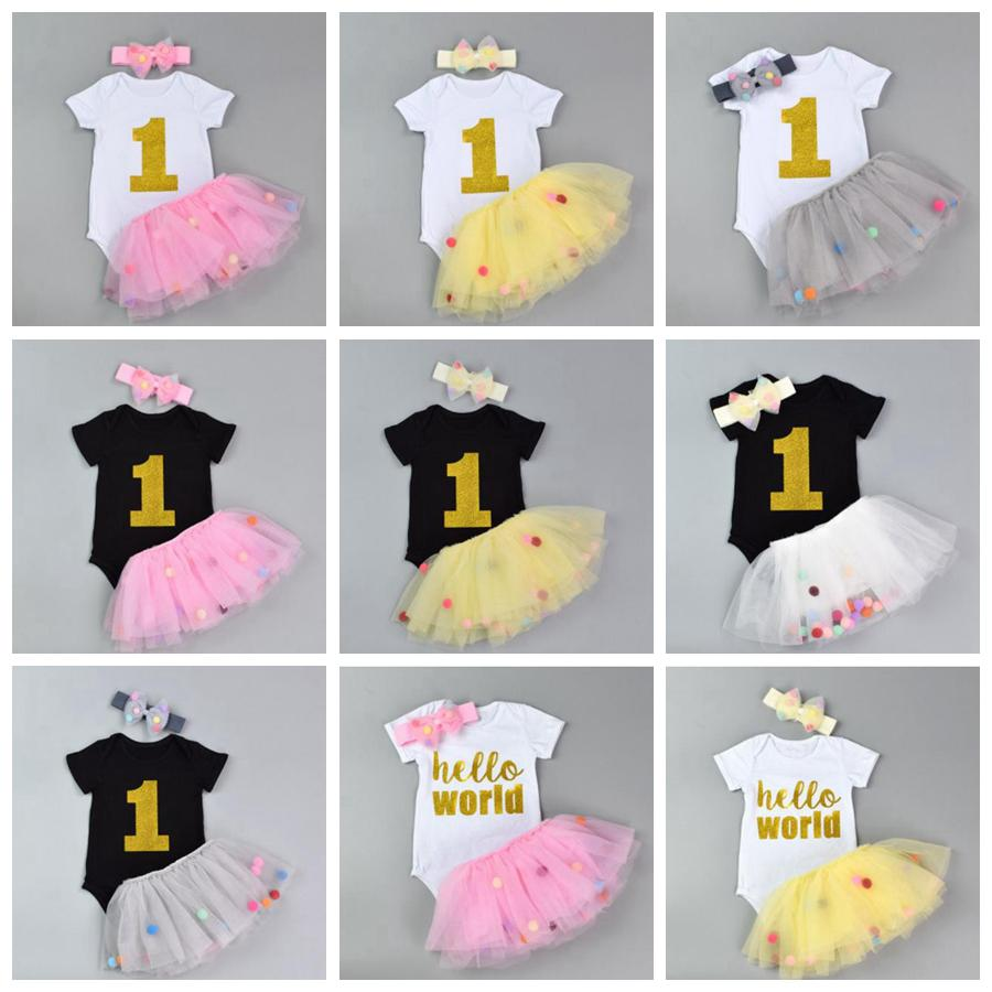 f57b96467 INS Girls Clothing Sets Baby Rompers Skirt Headband Cotton Short ...