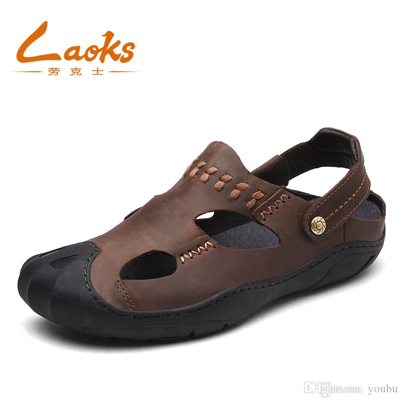 b915144873b80e Sandals Genuine Leather Men Beach Roman Sandals Brand Men Casual ...