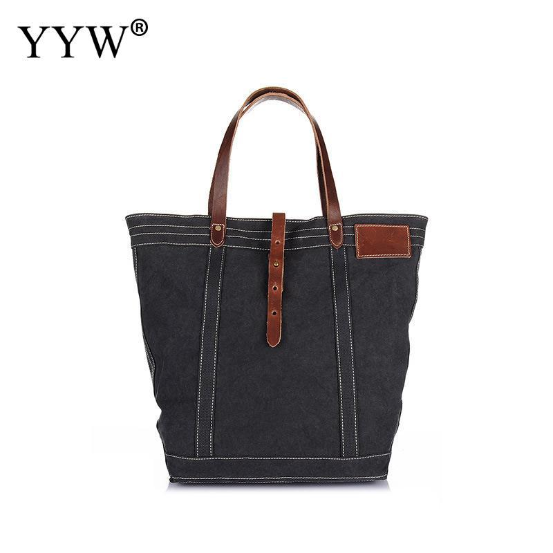553d502645f0 Casual Male Bag Dark Grey Tote Bags for Men Camel Canvas Handbag ...