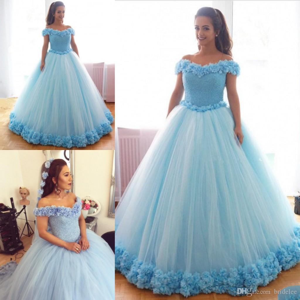 Beauiful Light Blue Ball Gown Quinceanera Dresses Off Shoulder With ...