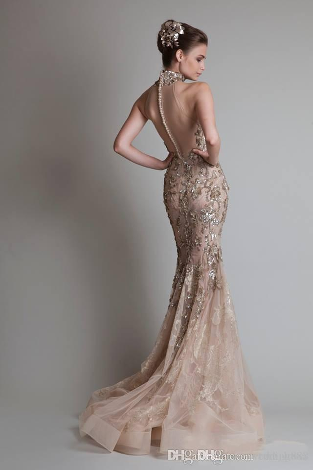 Sexy See Through Organza Button Back Mermaid /Trumpet Elie Saab Evening/Formal/Prom Dresses With High Neck And Luxurious Silver Appliques