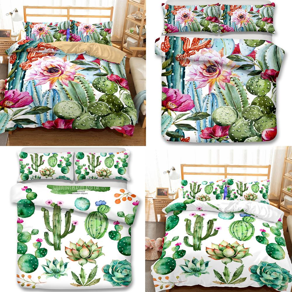 3d reactive print bedding sets flower bedclothes cactus queen size bedding sets duvet cover bedding quilts king online with 67 57 piece on molahomes store