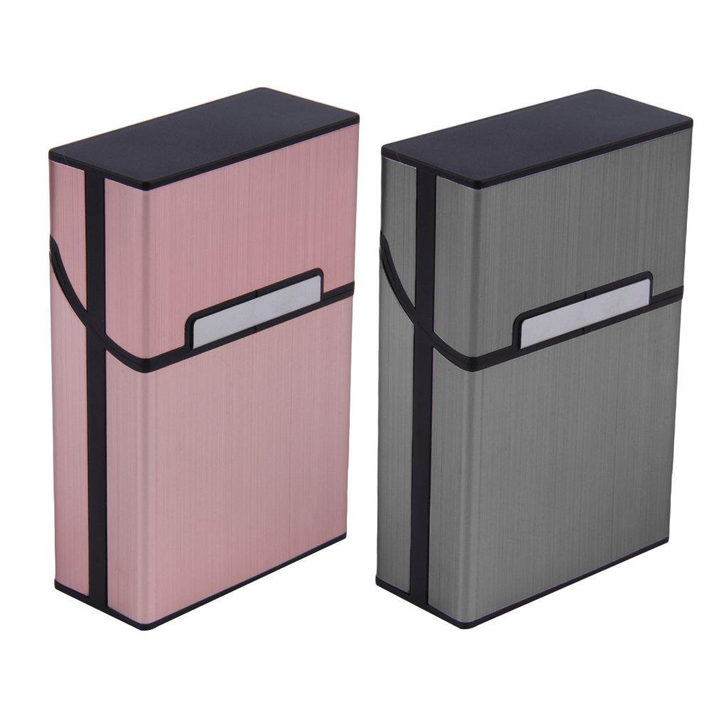 Cigarrillo de aluminio ligero Estuche de cigarros Caja de bolsillo de tapa dura Contenedor de almacenamiento de contenedores