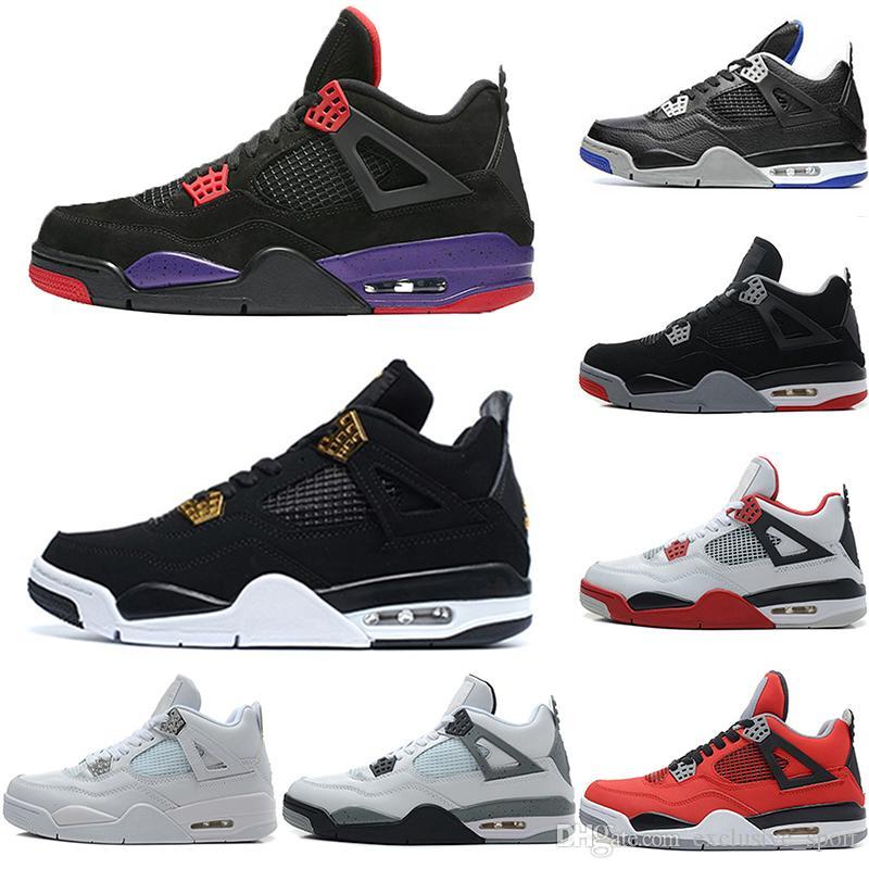 new concept 1cdc2 a328f Discount Men 4 4s Basketball Shoes Raptors Black Cat Pure Money Royalty White  Cement Blue Fire Red Cheap Trainers Sport Sneaker Size 41 47 Jordans  Sneakers ...
