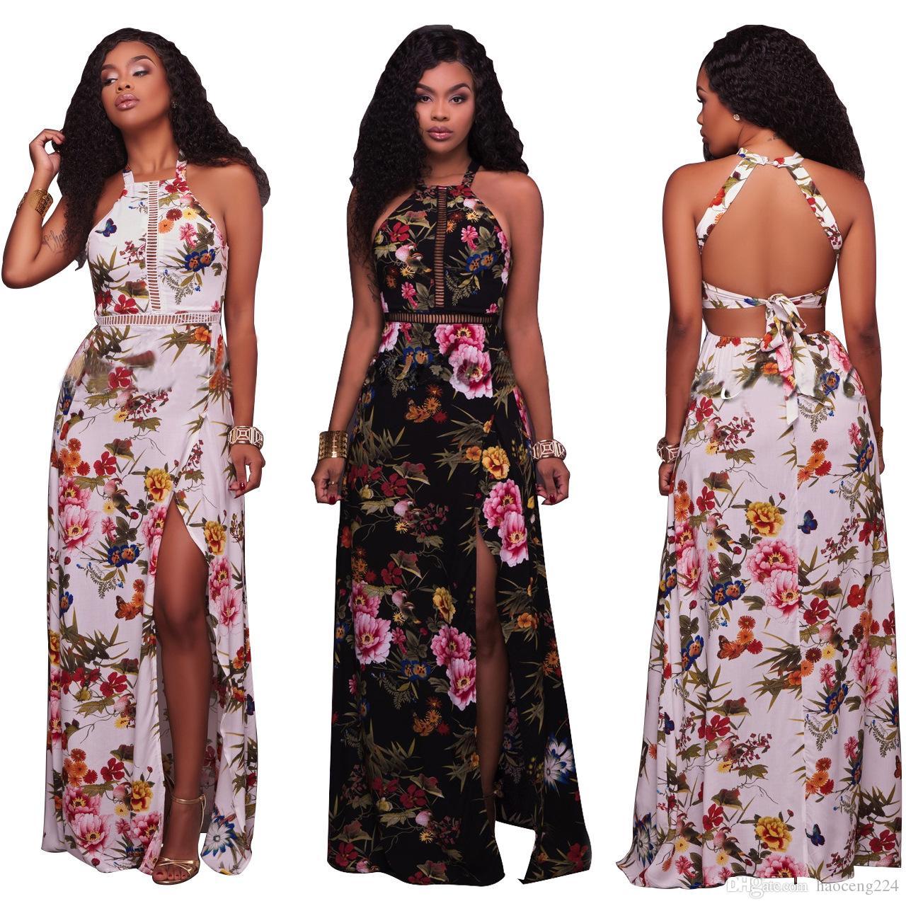 6f4e28c92d6 Floral Print Dress Women Sleeveless Fashion Split Hollow out Sexy ...