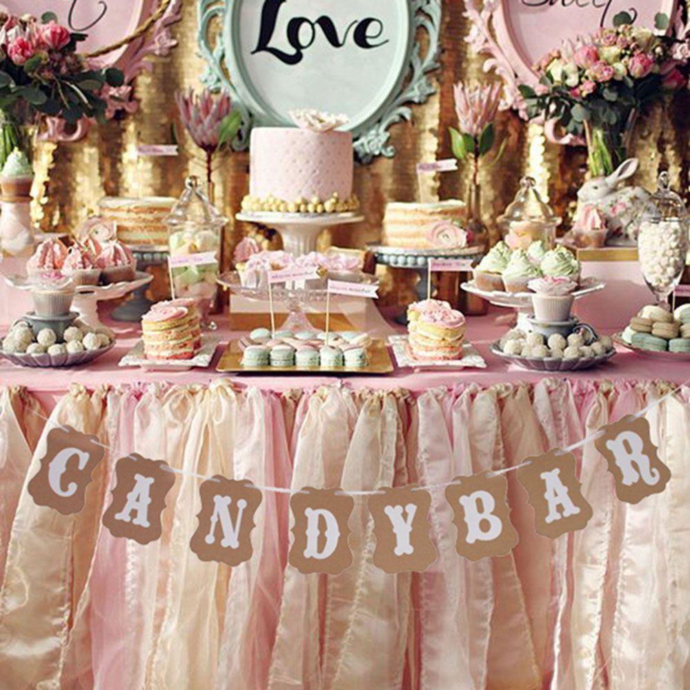 Wedding Candy Bar.1 Set Candy Bar Kraft Paper Cardboard Bunting Banner Garland Wedding Decor Sign Fashion Party Decor Supplies