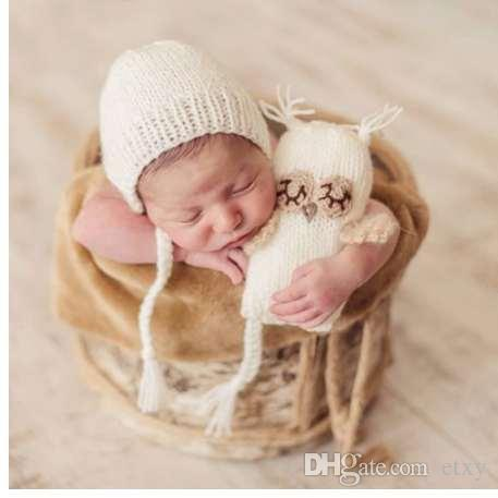 6d3ca8d2378 Puseky Infant Baby Knitting Crochet Baby Beanies Hat Kids Toy Doll Girls  Boys Toy Cute Gift Set Newborn Photography Props UK 2019 From Etxy