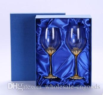 Hot selling new enamel chrysanthemum lead-free crystal wine glass goblet set
