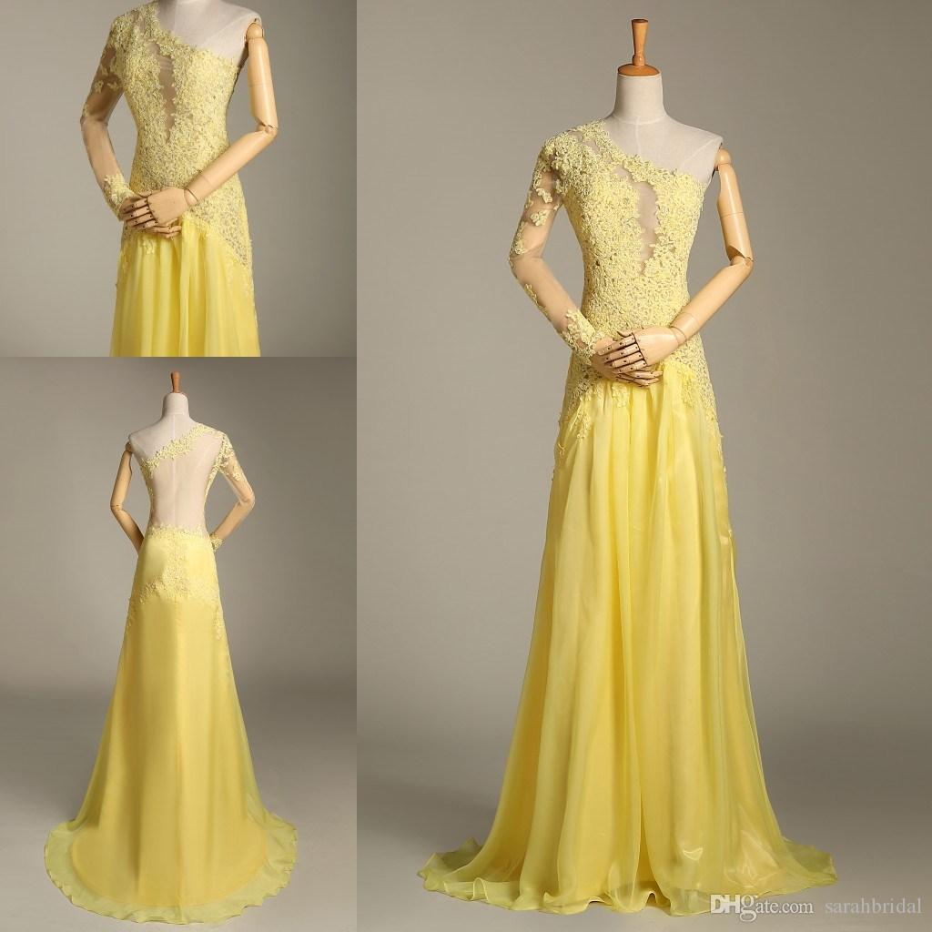 2019 Oscar Yellow Mermaid Lace Vestidos de manga larga de manga larga Vestidos de noche de gasa de manga larga Celebrity Red Carpet Dresses Un escote de hombro