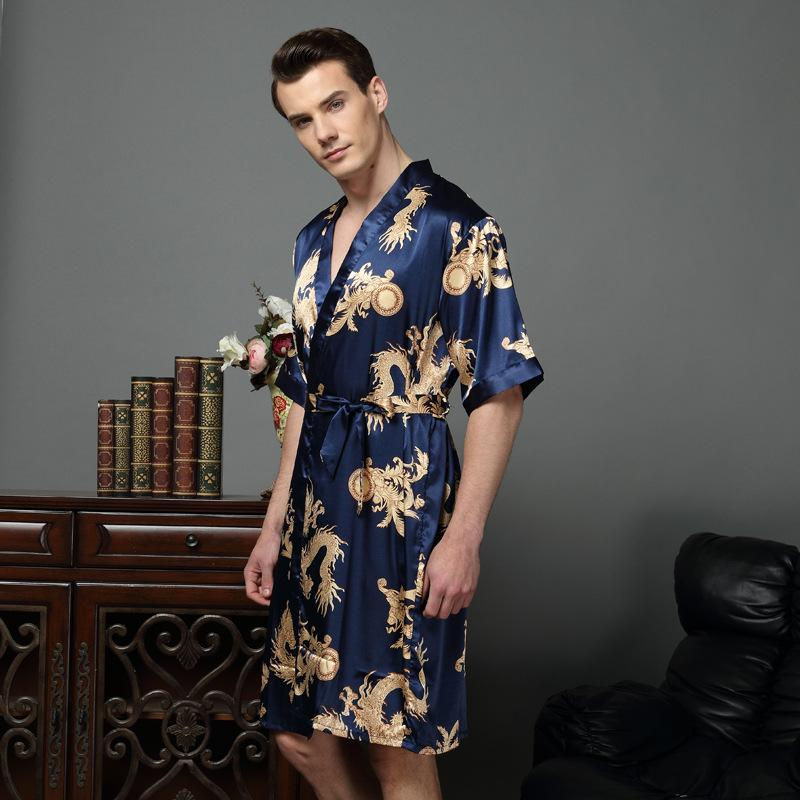 e030ade01e5 Chinese Dragon Male Silk Dressing Gown Mens Satin Robe Robe With ...