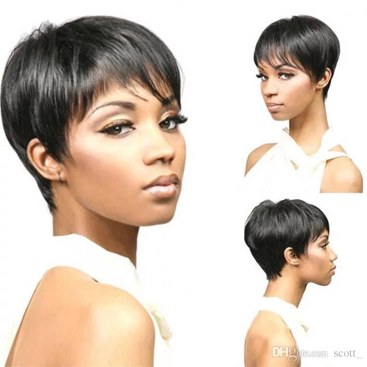 Short Wigs For Blacks Fashion & Charming Style And Cheap Short Cut Straight Layered Synthetic Wig Natural Black Color Hair For Women