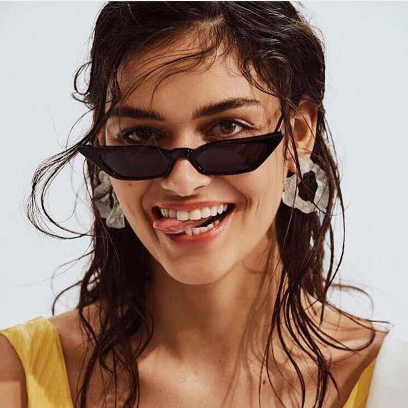Cat Eye Sunglasses para mujer One Piece Vintage Sunglass Retro Ladies Brand Designer Sun Glasses Black Red Color Pink Mirror