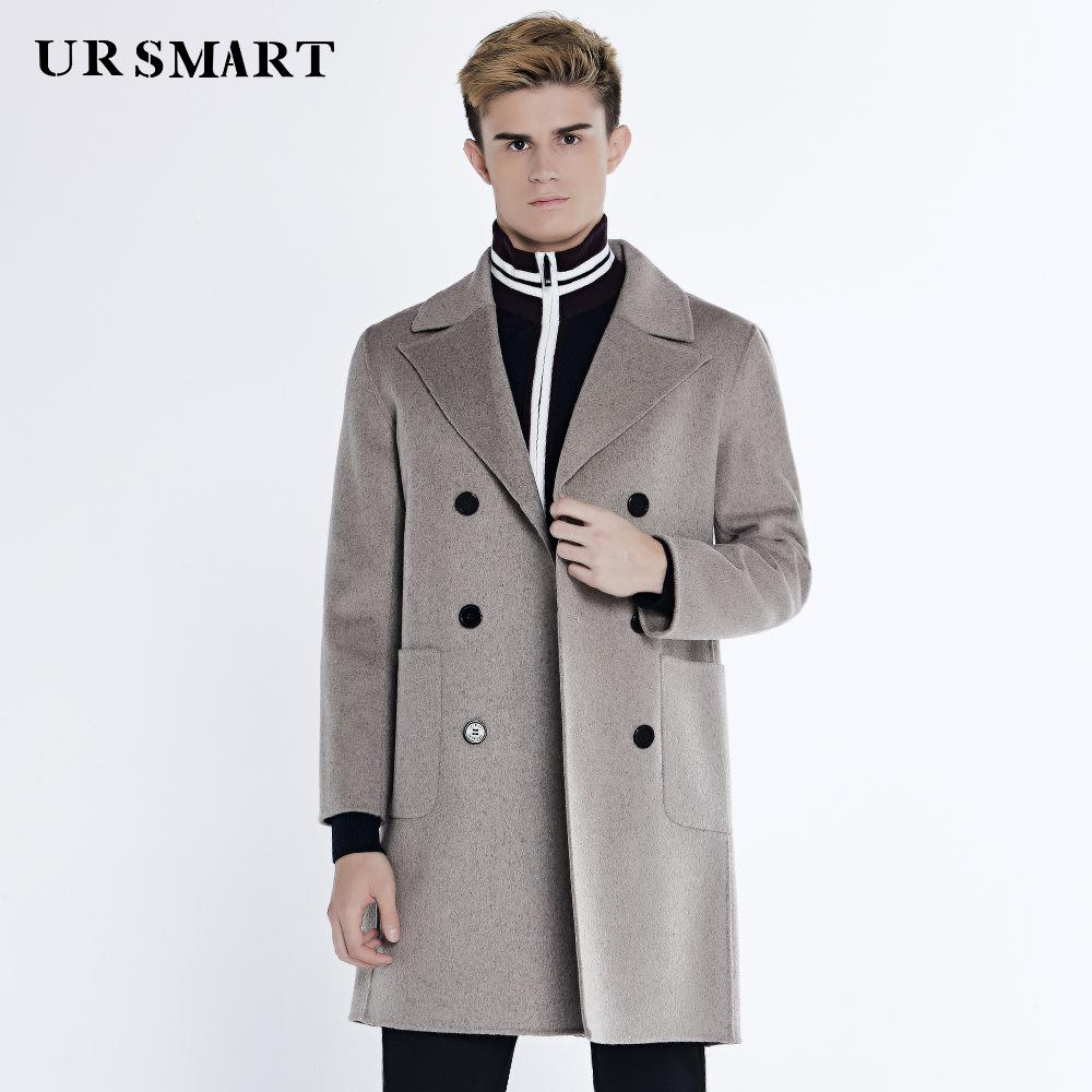 61a649bdadb1f 2019 URSMART Double Sided Wool Coat Male Long Double Breasted Coat Of  Camel S Hair Men Euramerican Style Woolen Cloth From Zhaolinshe