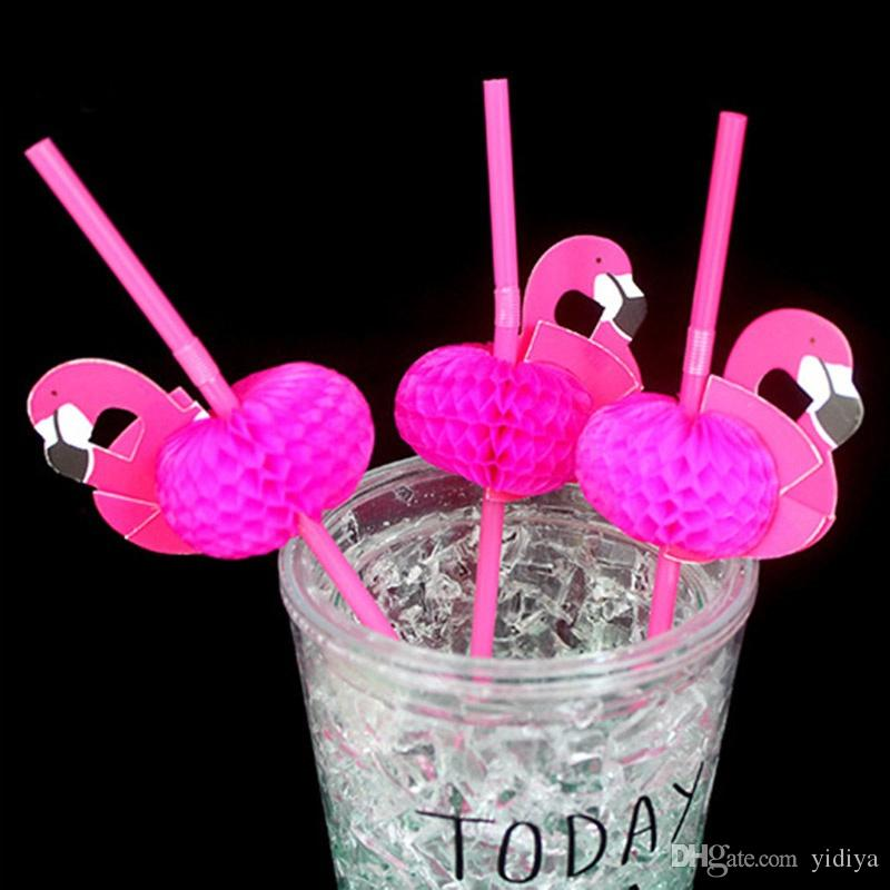 New Arrival Pink Flamingo Straw 3D Bendy Flexible Plastic Drinking Straw Wedding Decoration Tropical Party Supplies