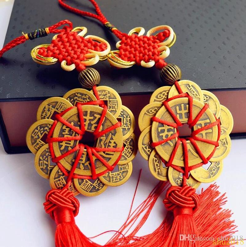 Nodo cinese rosso FENG SHUI Set di 10 Lucky Charm Ancient I CHING Monete Prosperity Protection Good Fortune Spedizione gratuita