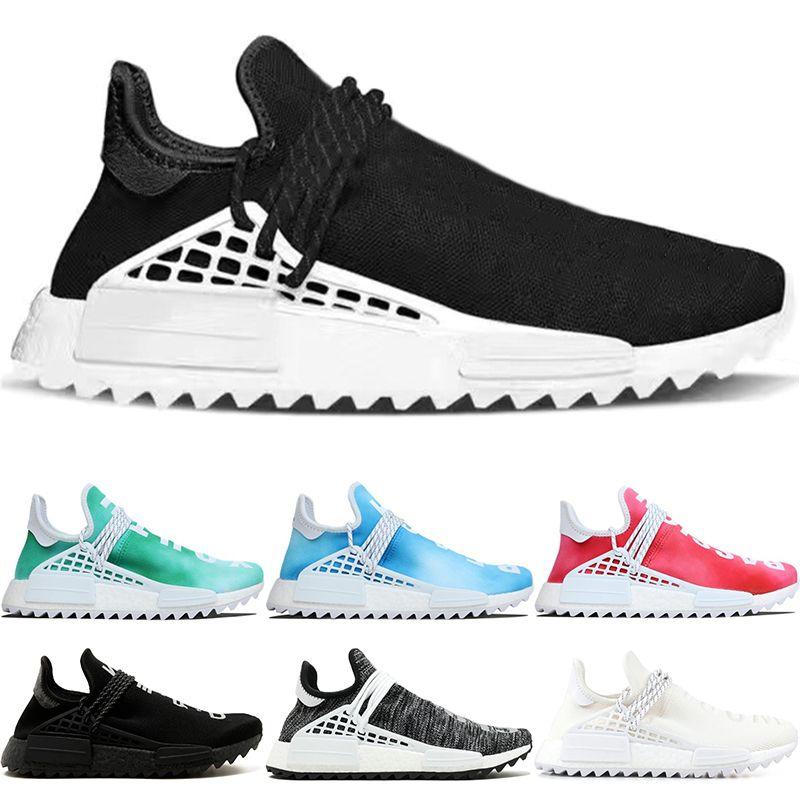 667e506f7 2019 Cheap Human Race Trail Running Shoes Men Women Pharrell Williams HU  Nerd Black Cream White Equality Casual Sport Sneaker Size 36 47 From  Sneakers2020