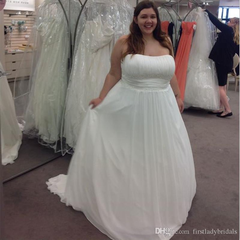 36a5d5aa8be Discount 2018 Simple Chiffon Plus Size Wedding Dresses Strapless A Line  Sweep Train Big Woman Bridal Gowns Cheap Price Custom Made Country Style A  Line ...