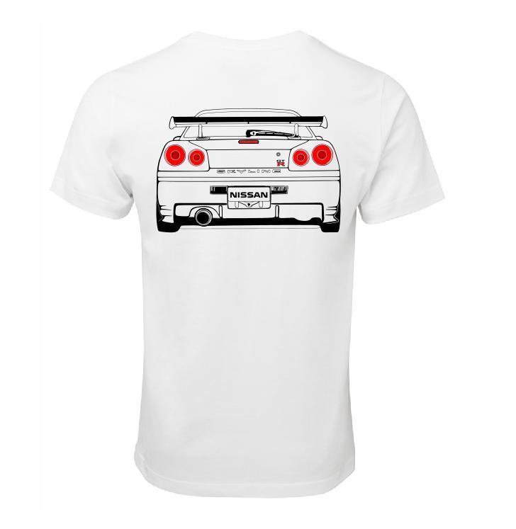 Compre NISSAN SKYLINE R34 GTR RB26 T SHIRT ALGODÃO RACE CAR TURBO JDM CAMISA  DE DERRAMAMENTO De Linnan0004 69c74b1d84f