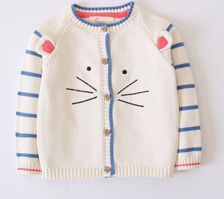 6124055abf1a1 Acheter Brand New Kids Vêtements Printemps Automne Chat Motif Cardigan Pull  Enfant Fille À Manches Longues Rayé Tricot Pull Livraison Gratuite De   16.09 Du ...