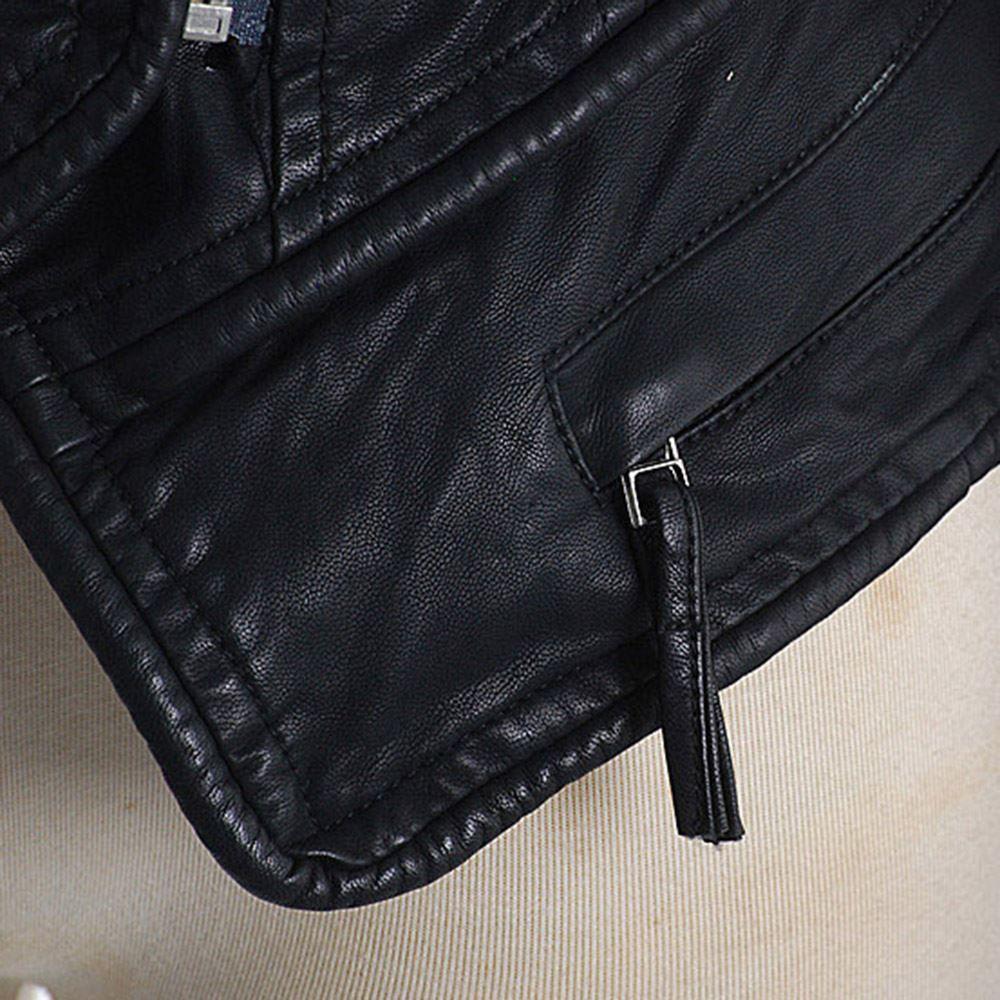 Punk Remache de imitación de cuero PU Chaqueta de las mujeres de la moda rosa Otoño Invierno Chaqueta de moto Negro de piel sintética Abrigo Prendas de abrigo Punk