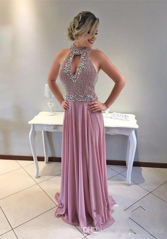 2018 Yeni Seksi Gelinlik Yüksek Boyun Keyhole Şifon Boncuk Kristal Aç Geri Uzun Artı Boyutu Örgün Parti Elbise Vestido Abiye giyim giymek