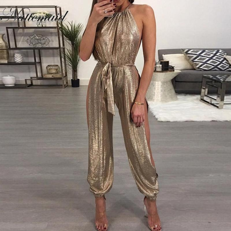 8d7d567548e1 Wholesale Rompers Women Sexy Summer Style Clothing Overalls Brand Casual  Gold Sleeveless Halter Keyhole Jumpsuit Jumpsuit Online with  35.31 Piece  on ...