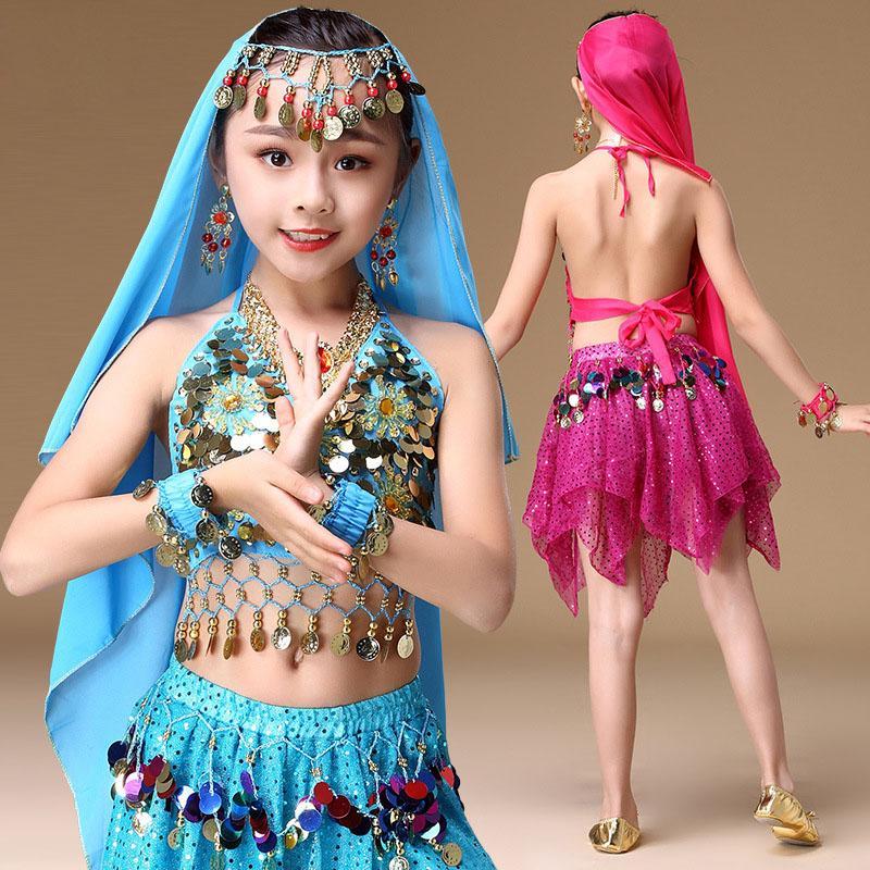 dcc458f605afa Acheter Fille Sequin Oriental Costume De Danse Du Ventre Ensemble Hauts  Jupe Voile Pour Enfants Indien Danse Danse Vêtements Danseur Vêtements  Vêtements De ...
