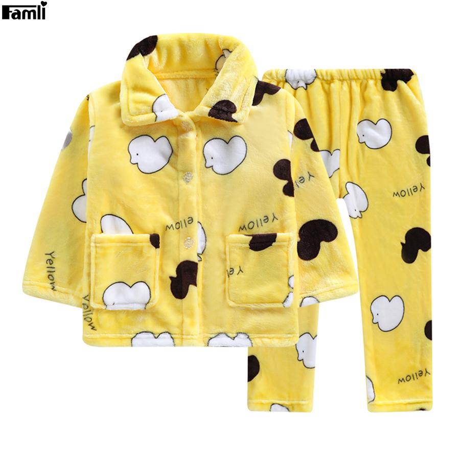 98ebeac21 Famli Baby Kids Winter Flannel Pajamas Sets Children Girl Warm Thick ...
