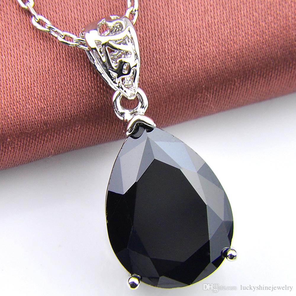 10 Unids Luckyshine Classic Sparking Fire Water Drop Negro Onyx Cubic Zirconia Piedras Preciosas Colgantes de Plata Collares para el banquete de boda