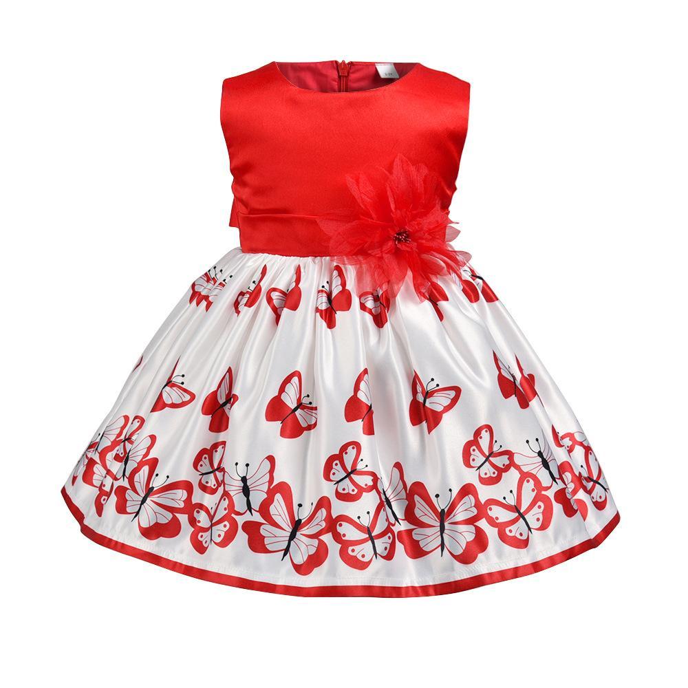 25d605fe351 Acheter Filles Papillon Princesse Robe Été Rouge Fleur Robes Sans Manches  Bébé Tout Petits Enfants 1 6 T Pour Mariage Robe De Soirée De Bal Y122 De   78.3 Du ...