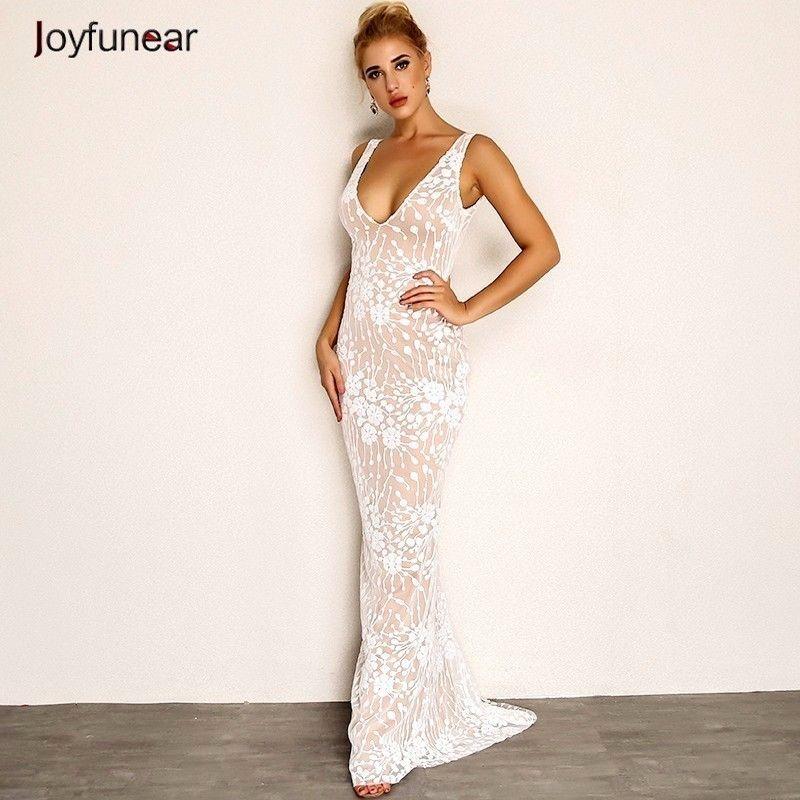 3ec7a537b796 Joyfunear Sexy V cuello verano Maxi Dress 2018 Nueva Backless Floral  vestido largo partido Mujeres Vestidos Elegante Vestido Longo