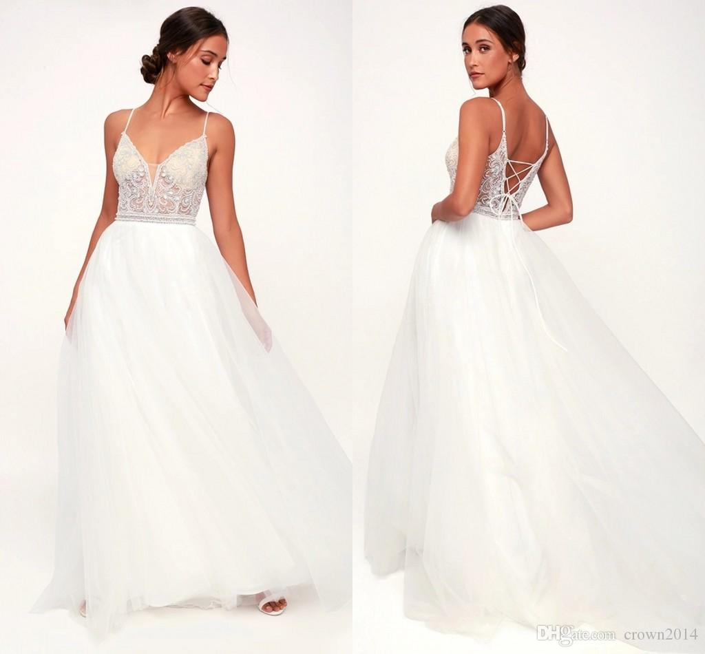 a840868dac35 2019 y White Wedding Dress V Neck Beaded Rhinestone Lace Up A Line Tulle  Beach Maxi