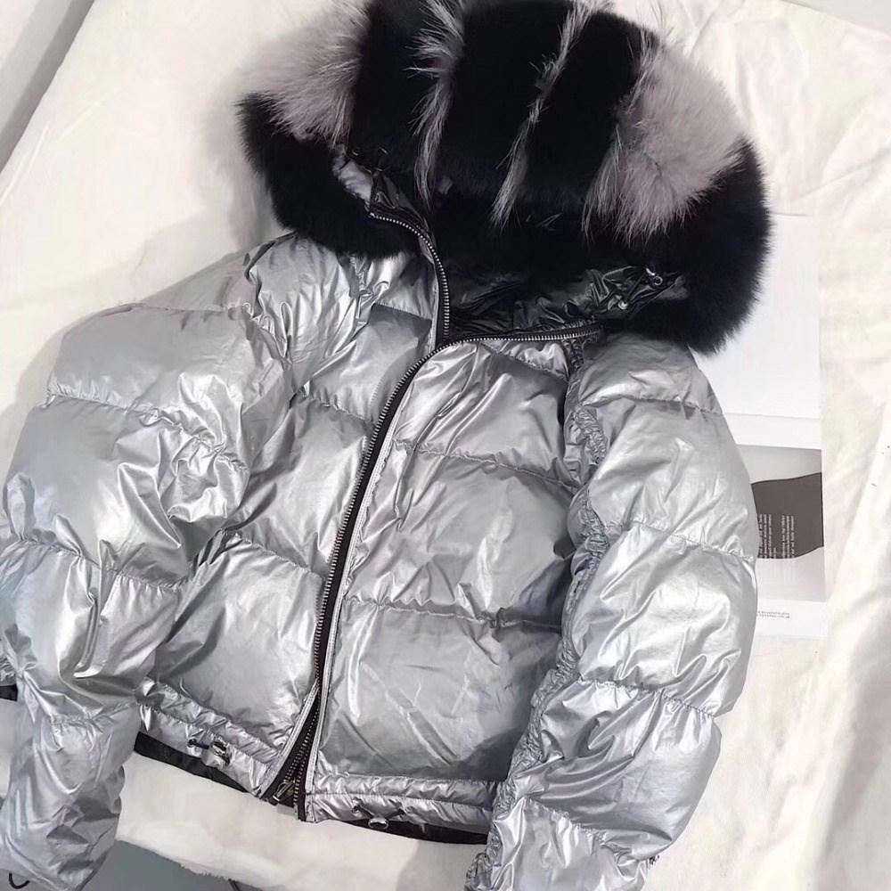 32e9e3da6 Women Winter Jacket Real Fur Coat Natural Fox Fur Collar Loose Short Coat  Korean Parkas White Duck Down Jacket