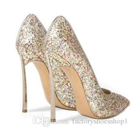 2018 women Sexy Bling Bling Sequin Blade Heel Pump Pointed Toe Slip-on High Heel Dress Shoes Metal Heel Glitter Shoes
