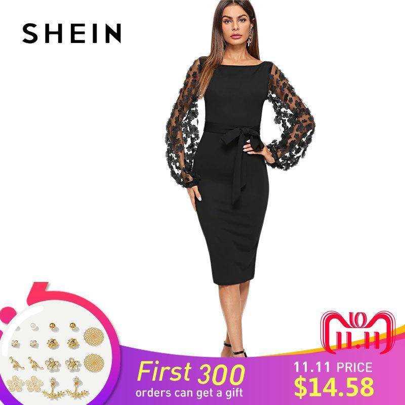 c9390a53a Compre SHEIN Partido Negro Elegante Flor Aplique Contraste Forma De Manga  De Malla Ajuste Belted Solid Dress Otoño Mujeres Streetwear Vestidos  D18110901 A ...