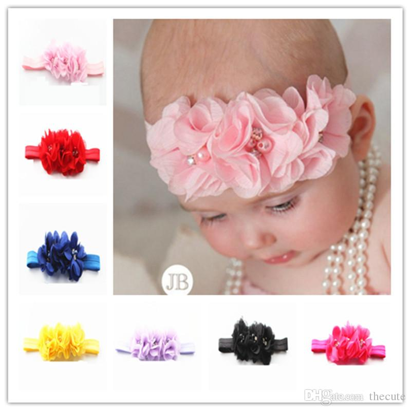 963022510cb Gril Baby 3 Flowers Hair Bands Pearl Crystal Chiffon Flower ...