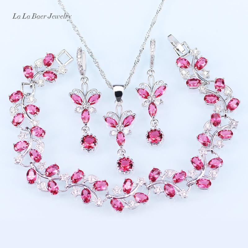 9c6524144314 Compre LB Lady 925 Juegos De Joyas De Plata Rosa De Cristal Blanco Circón  Pulsera Collar Colgante Pendientes Largos Cadena Para Las Mujeres D18101003  A ...