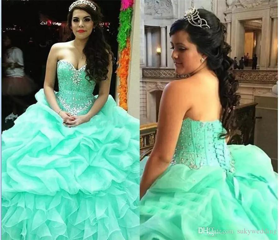 fb251b09d38 Awesome Mint Green Quinceanera Dresses Crystals Ruffles Lace Up Sweetheart  Prom Ball Gowns Sweet 16 Dress Organza Special Occasion Dresses Purple ...