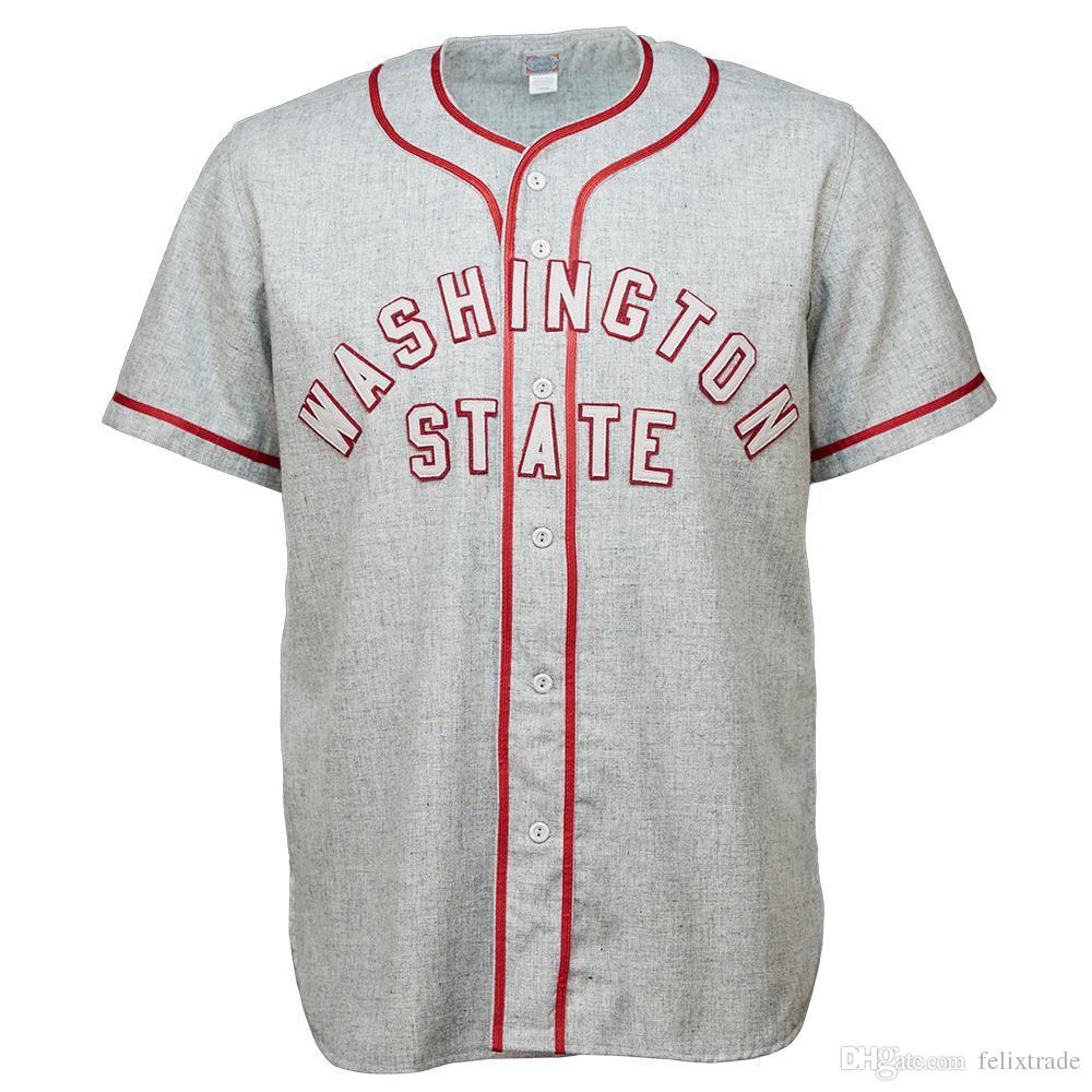 wholesale dealer 14223 603e1 WSU Washington State Cougars University 1948 Road Jersey Double Stiched  Baseball Jersey For Men Women Youth Customizable