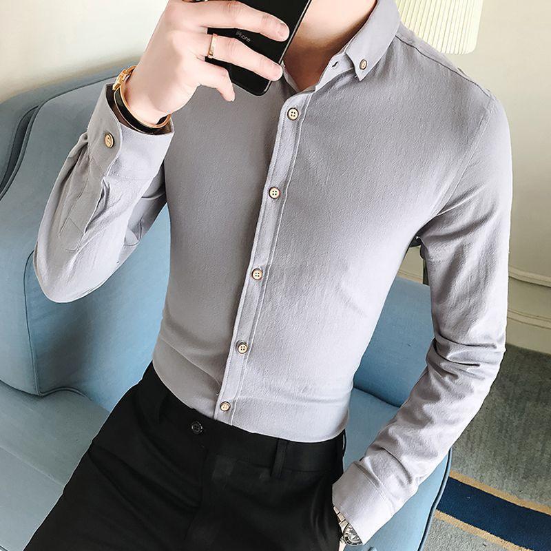 new concept d956d 9e523 Camicia da uomo con gemelli francesi 2018 Camicia a maniche lunghe da uomo  a maniche lunghe Camicie casual da uomo di marca Camicie a maniche corte ...