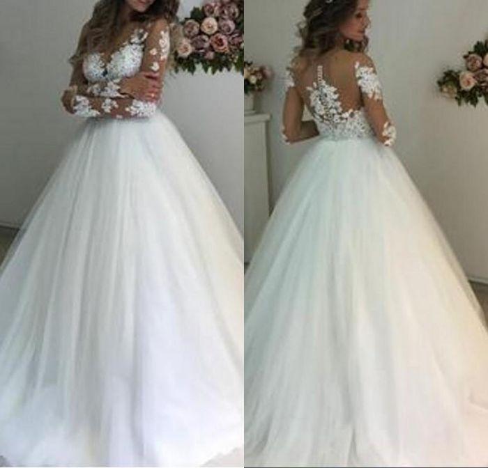 c430c1da87f Compre Nuevos Vestidos De Novia De Moda Encantador Lujo Elegante Apliques  De Encaje Mangas Largas Vestidos De Fiesta Escotelar Vestidos De Novia  Largos A ...