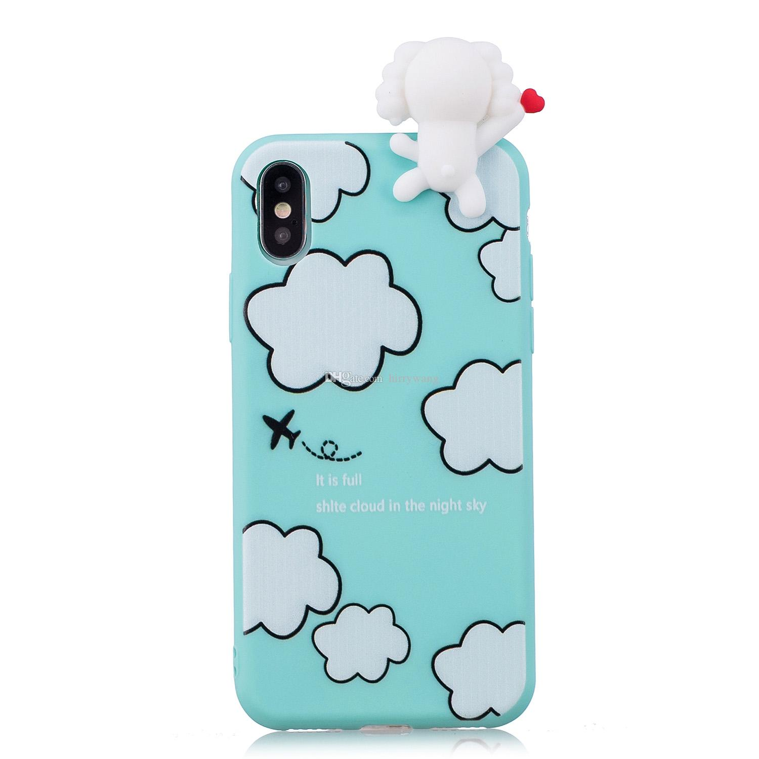 3D Cute Lovely Cartoon Unicorn Soft Silicone Rubber Mobile Phone Case Cover for Iphone 8 7 I7 6S 6 plus SE 5 5S
