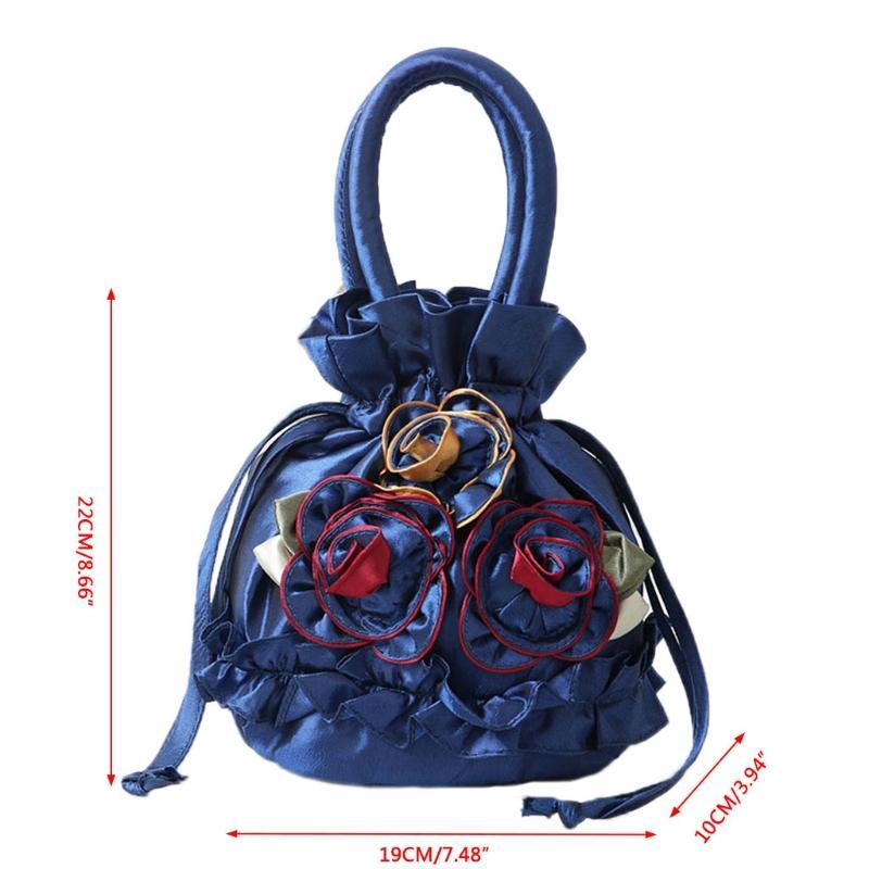 THINKTHENDO New Women Embroidered Flower Silk Satin Purse Coin Wallet Gift  Small Handbag Bag Drawstring Open Shoulder Bag Leopard Clutch Branded  Handbags ...