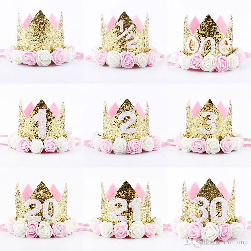 2019 Happy First Birthday Party Hats Decor Cap One Hat Princess Crown 1st 2nd 3rd Year Old Number Baby Kids Hair Accessory Adults From The