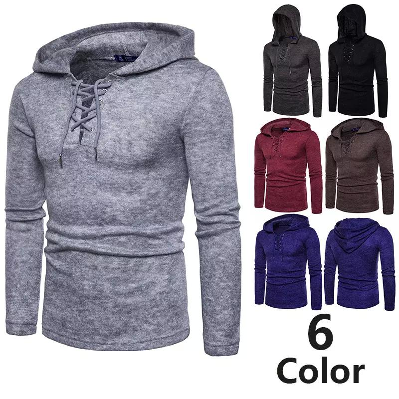 52c3950b1512e 2018 Men s Solid Color Pullover Rope Thick Sweater Autumn And Winter ...
