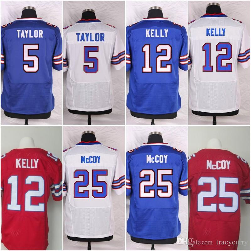 factory price 41b29 28173 Buffalo 5 Tyrod Taylor 25 LeSean McCoy 12 Jim Kelly Jerseys High Quality  Blue White Red Shirts