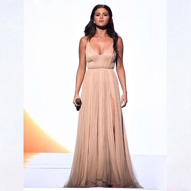 Selena Gomez Evening Dress Long Celebrity Dress Prom Party Dress Formal Event Gown Plus Size robe de soire vestido de festa longo