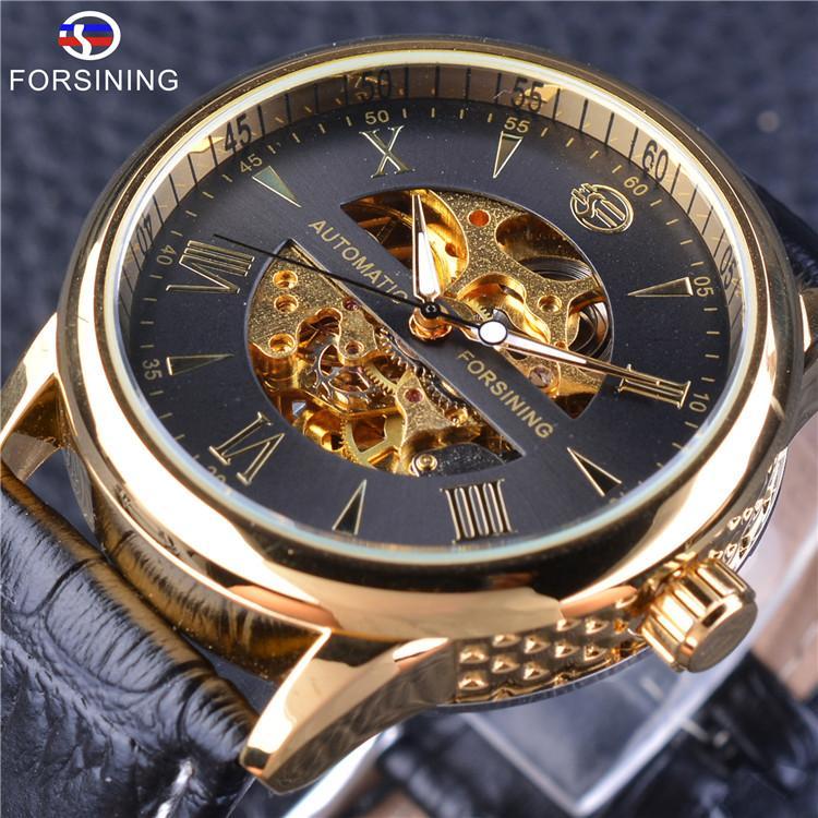 c8046728887 Compre Forsining Mens Relógios Top Marca De Luxo Auto Liquidação Assista Moda  Esqueleto Mecânico Relógio De Pulso Cinto De Couro Genuíno De Lyfgood